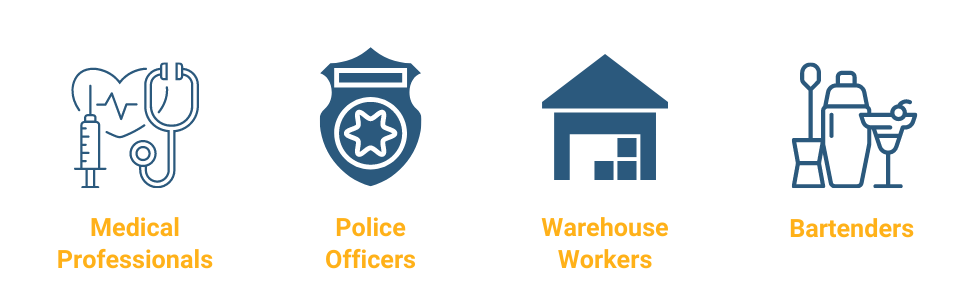 An image with icons representing medical professionals, police officers, warehouse workers, and bartenders who suffer from shift work sleep disorder.